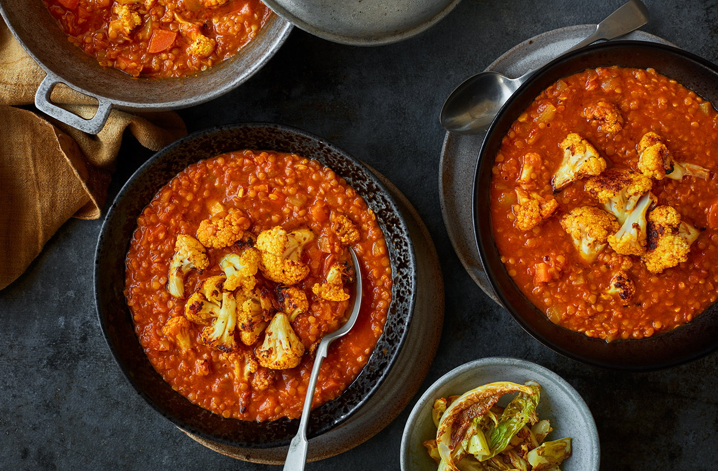 Red lentil and cauliflower dhal recipe