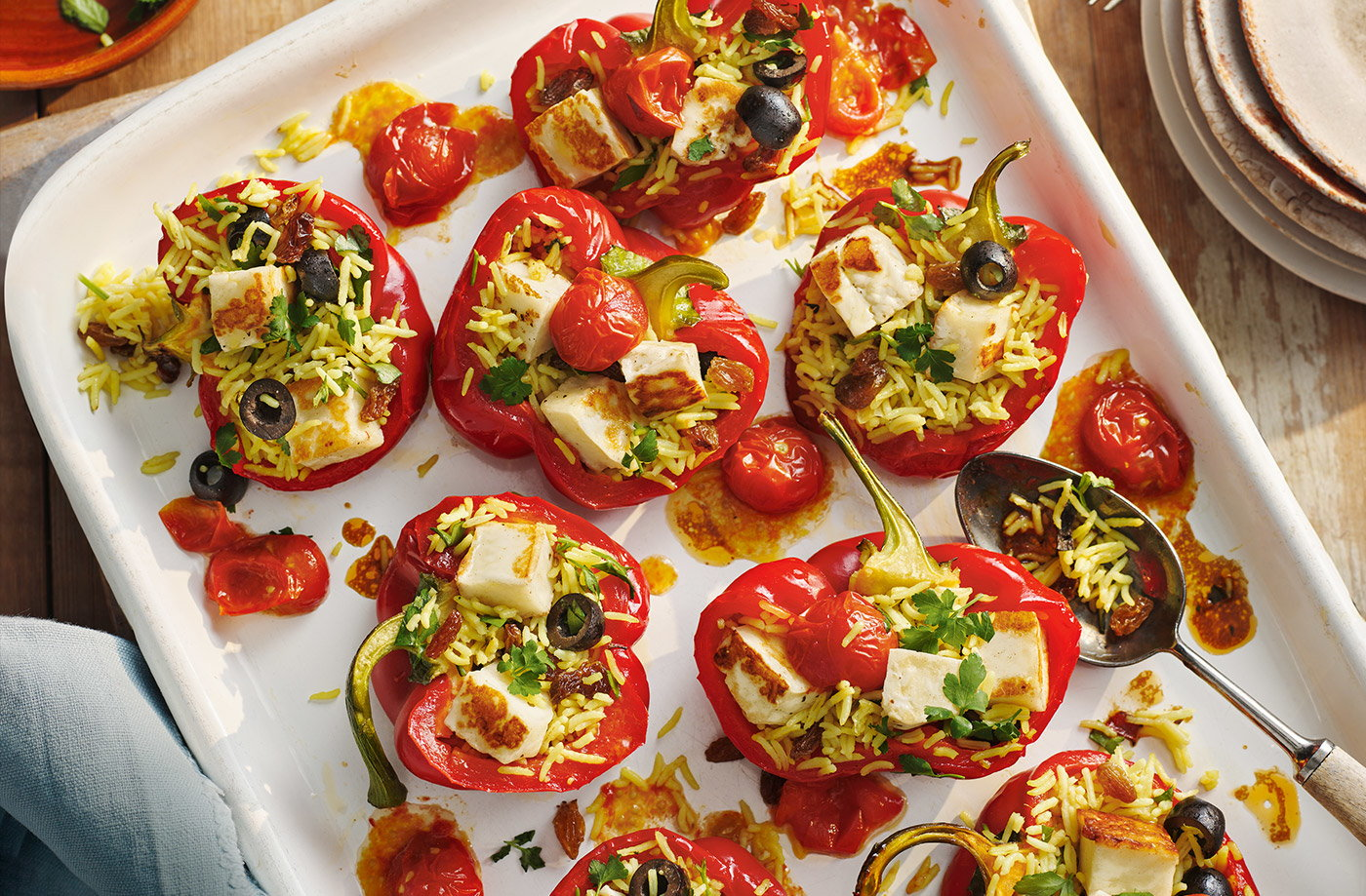 Halloumi stuffed peppers recipe