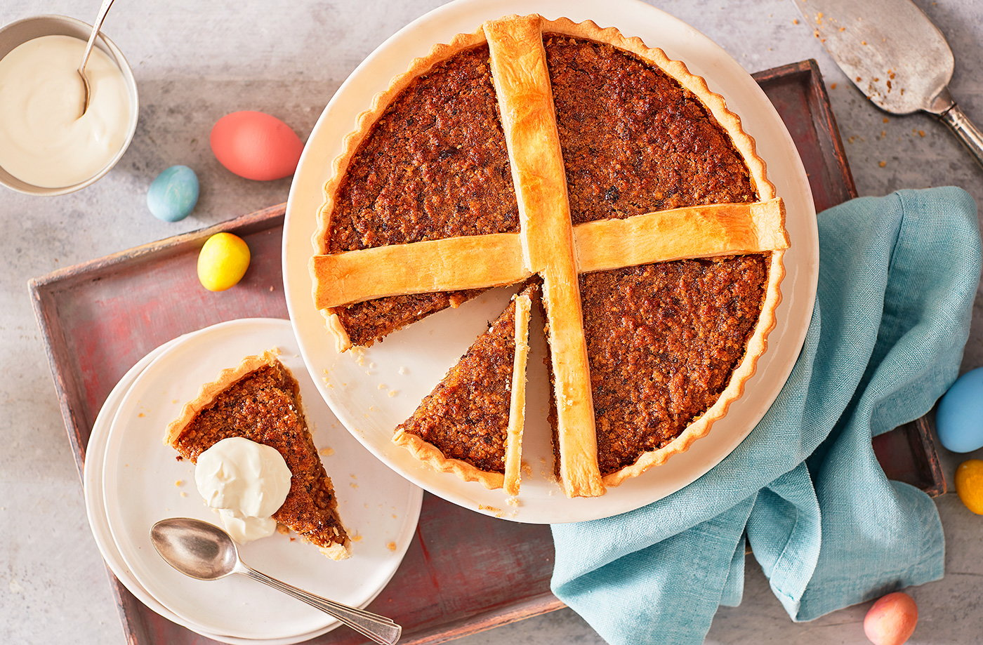 Hot Cross Bun Treacle Tart Easter Recipes Tesco Real Food