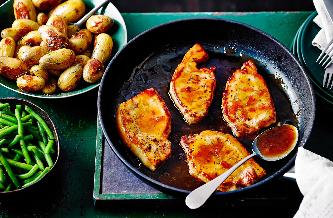 Marmalade pork with thyme-roasted baby potatoes  recipe