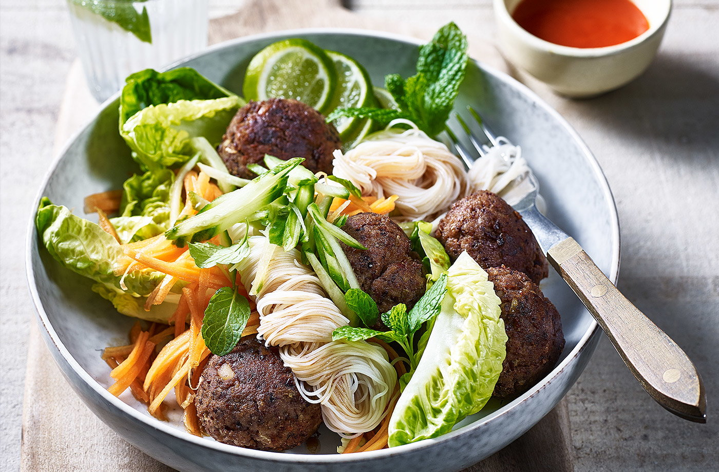 Meatball noodle bowls recipe