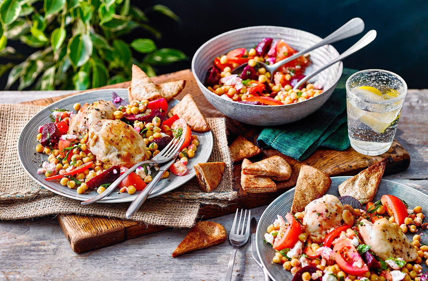 Crispy roast chicken thighs with beetroot and chickpea salad recipe