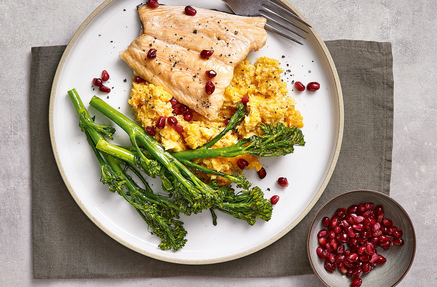 Roast salmon with butternut houmous mash recipe