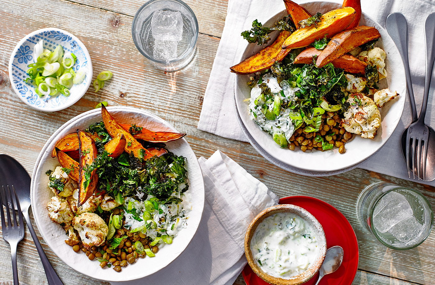 Roasted veg and lentil salad bowl recipe