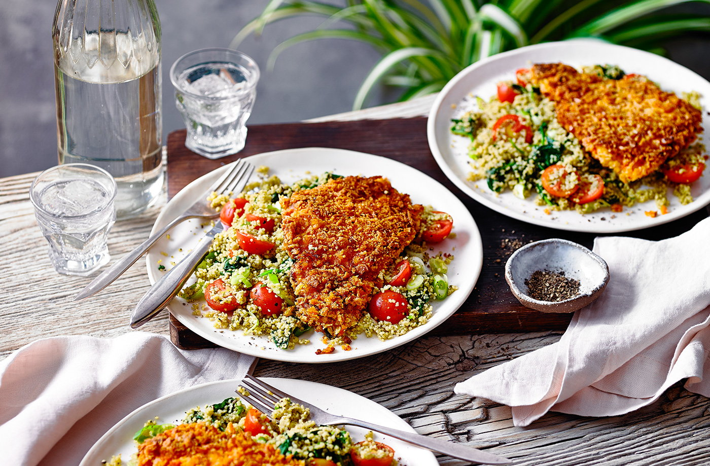 Spiced chicken escalope with couscous salad recipe