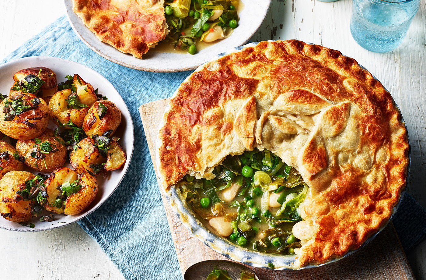 Spring greens and butter bean pot pie recipe