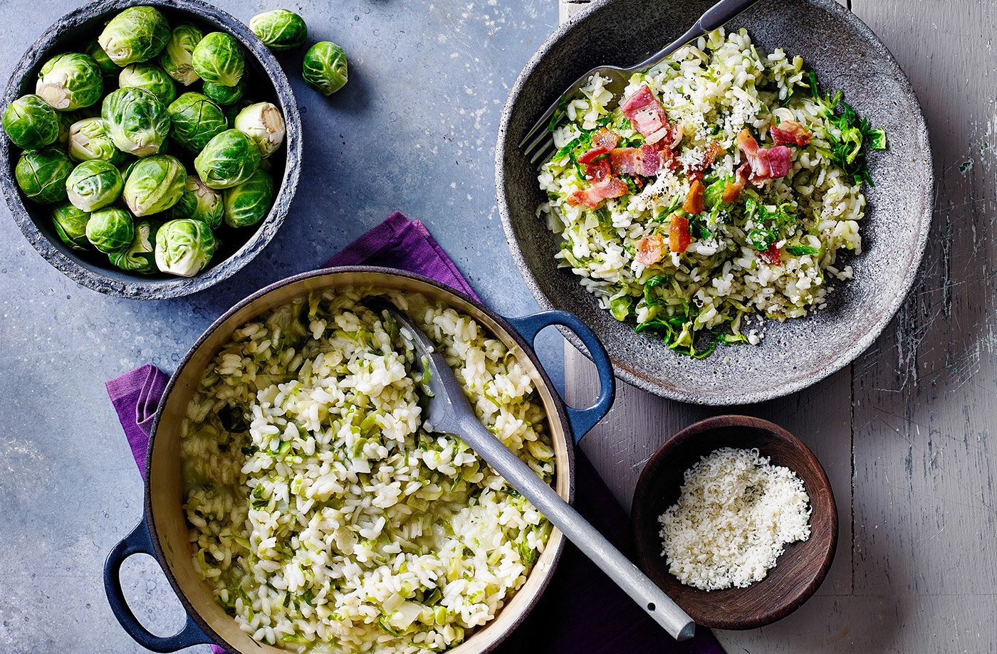 Creamy Brussels sprouts and bacon risotto recipe