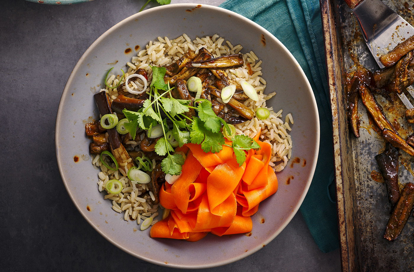 Sticky aubergine rice bowls recipe