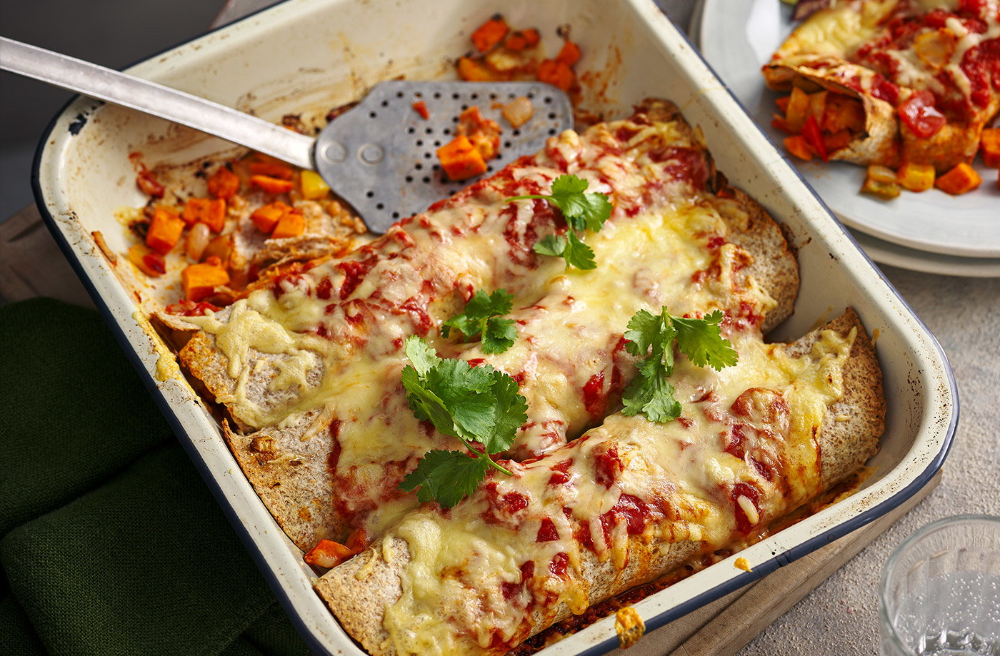 Sweet potato and pepper enchiladas recipe