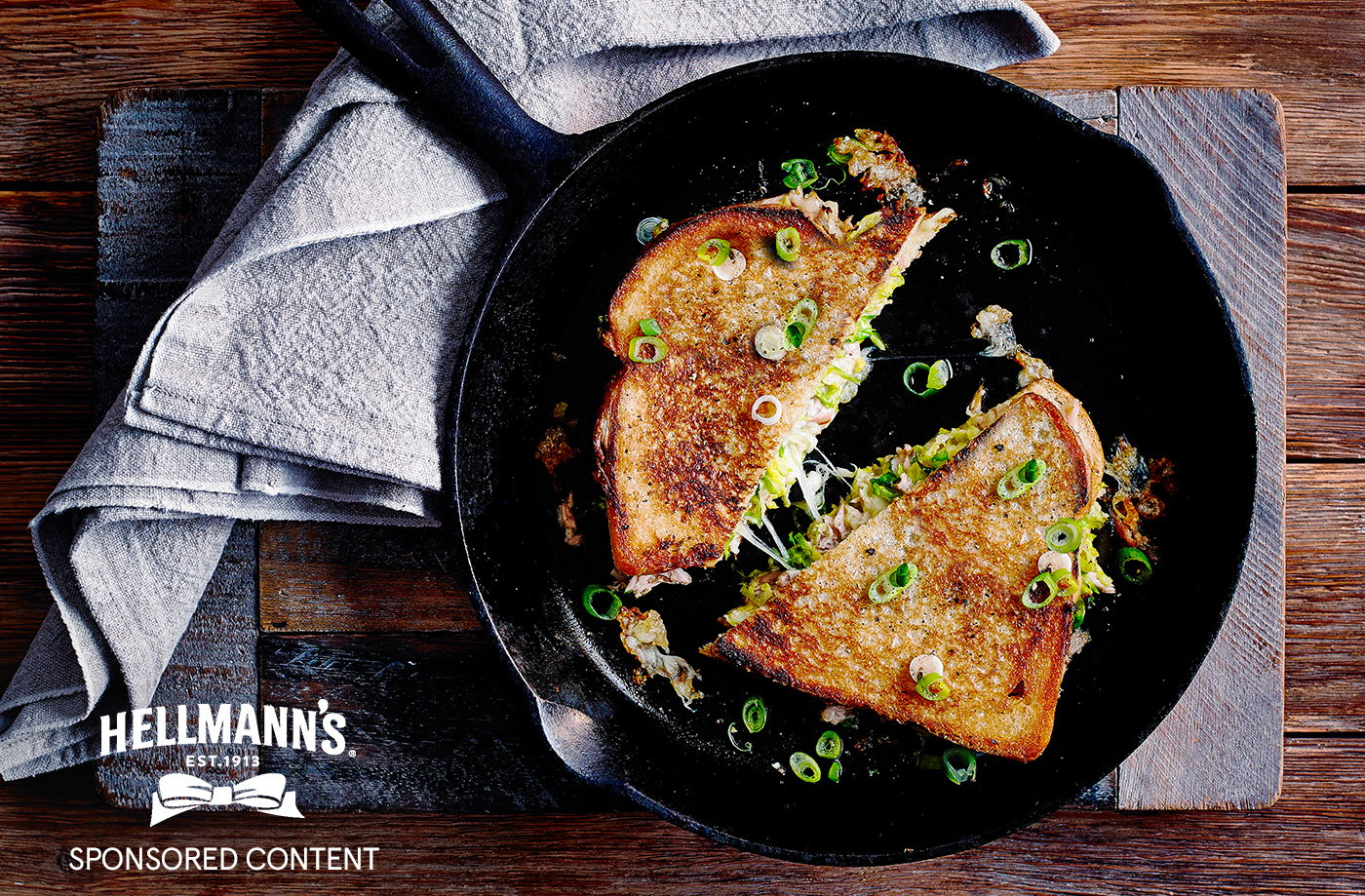 Tuna melt toastie with Brussels sprouts recipe