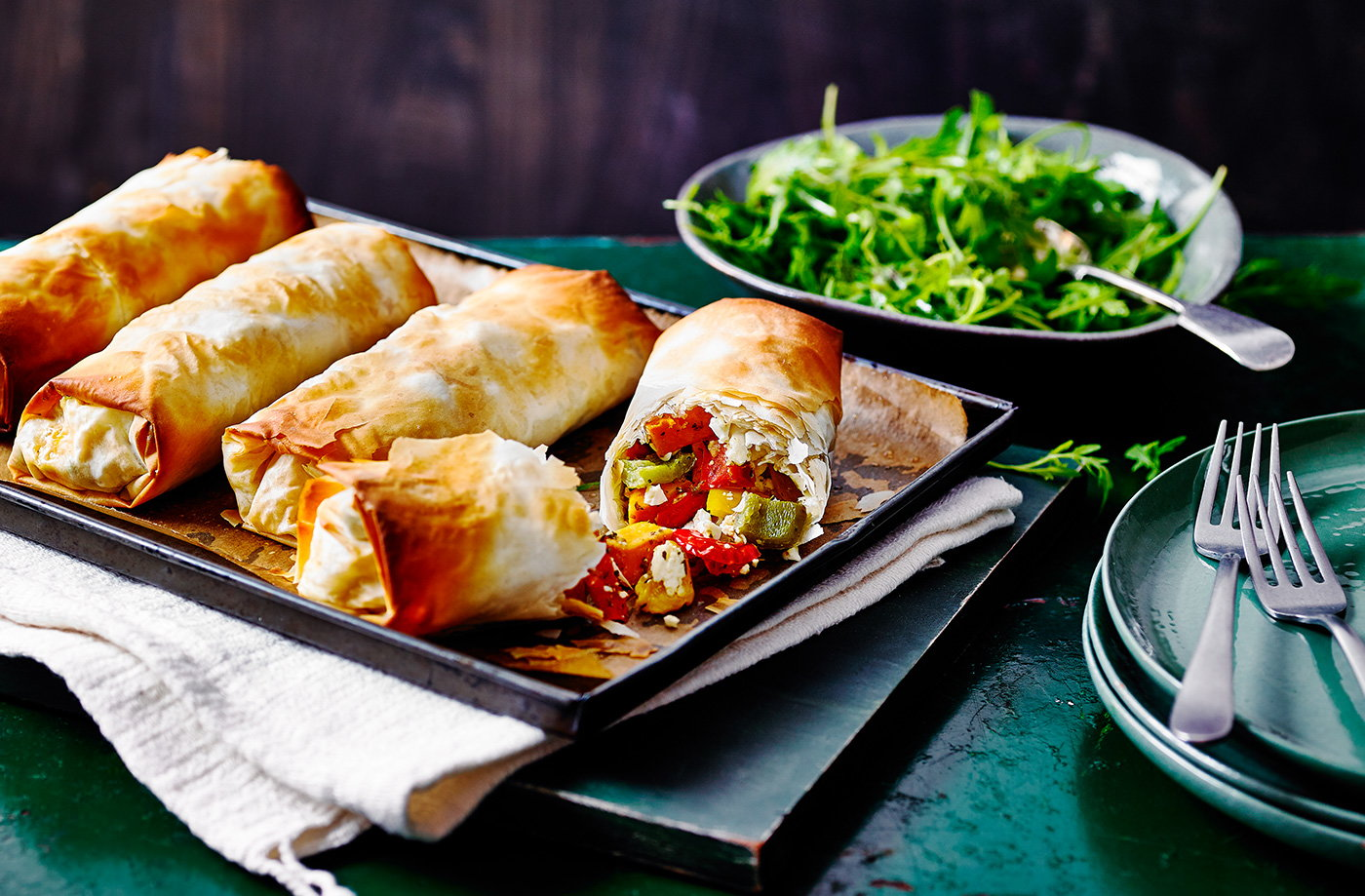 Cheesy vegetable strudels recipe