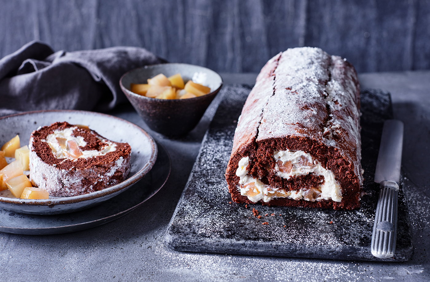 Pear and whisky chocolate roulade recipe