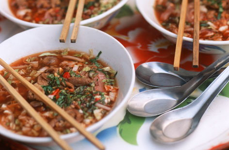 Noodle, rice & pork soup recipe