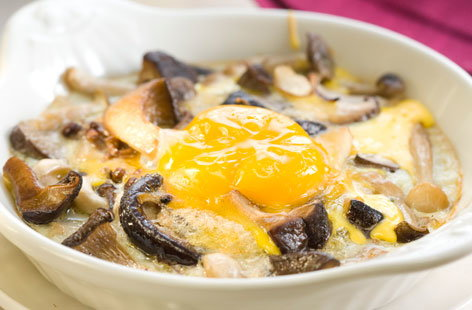 146194 Baked egg and mushrooms in a small casserole dish HERO
