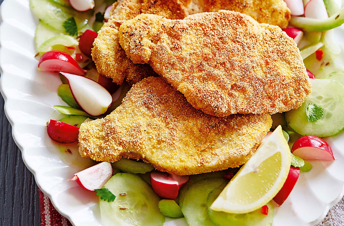 Pork schnitzel with spiced cucumber salad recipe