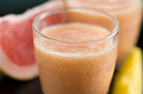 Grapefruit, banana and mango smoothie