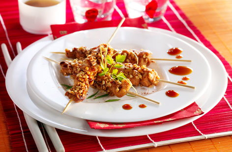 166727 chicken yakitoris coated with peanuts HERO