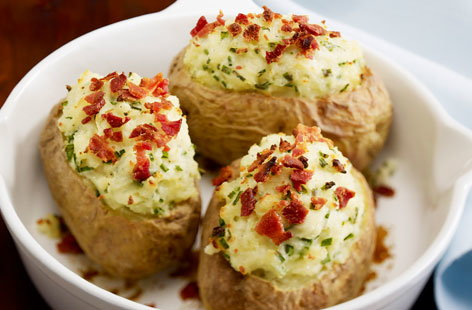 166929   Baked Potatoes with Ham and Chives HERO