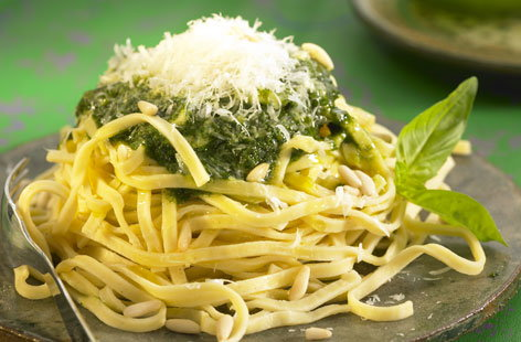 Tagliatelle with pesto, pine nuts and Parmesan | Tesco Real Food