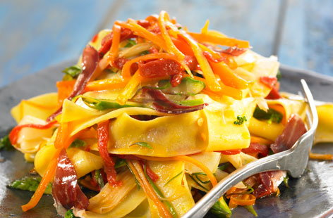 167609 papardelle with vegetables and raw ham HERO