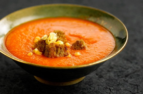 Lentil and tomato soup with garam masala recipe