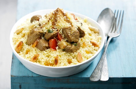 Beef and almond couscous