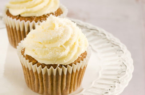 Cupcakes usually means no arguments over who got the bigger slice. These gorgeous cinnamon and carrot numbers are topped with an irresistible cream cheese icing and desiccated coconut. Practically one of your five-a-day.