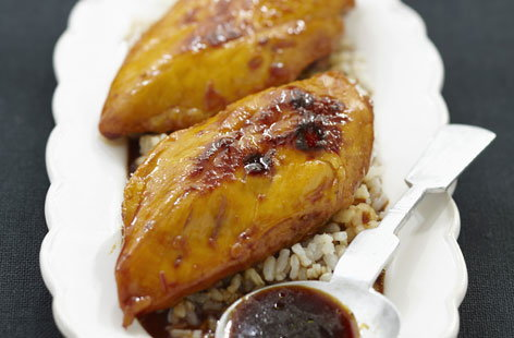 Seared chicken with rice