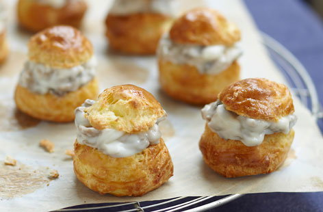 174861 choux buns with mushroom and diced bacon filling HERO