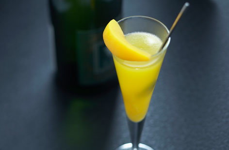 Sum up summer in a drink with this gorgeous bellini. This sparkling cocktail combines prosecco and peach: the sweet flavours of the stone fruit make for a light, refreshing, elegant tipple. Fresh peach is used in the purée, while the garnish is tinned peach.