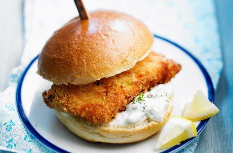Fried fish and tartare sauce burger tesco real food for Fish burger recipe