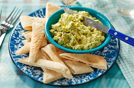 This broad bean, feta and pistachio blend is quick and simple to make, but totally tasty