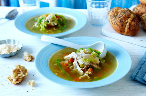 20 Chicken soup with whole chicken cooked in broth with veg (H)
