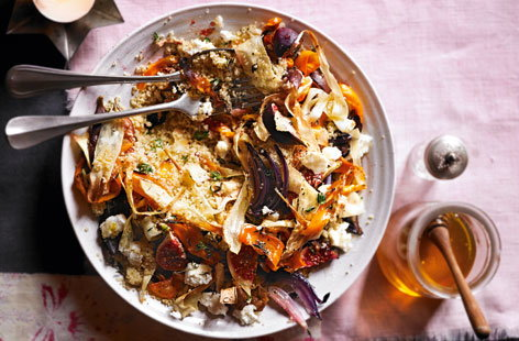 Rustle up this tasty vegetarian salad packed with colourful root vegetables, sweet figs and goats cheese