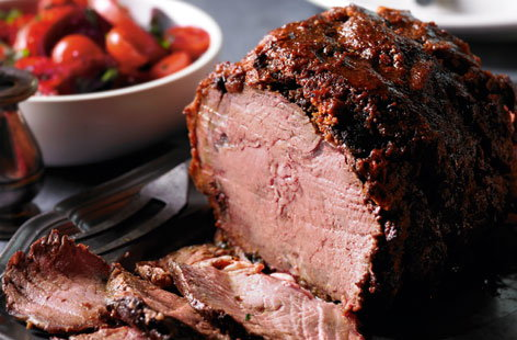 Harissa crusted roast beef rib with tomato, beetroot and mint salad