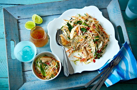 Sesame, chilli and ginger chicken noodle salad