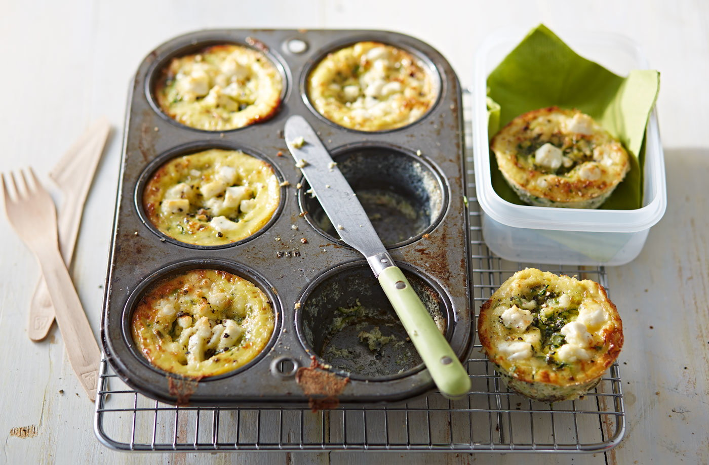 Kids lunchbox ideas packed lunch recipes tesco real food courgette and feta bakes forumfinder Images