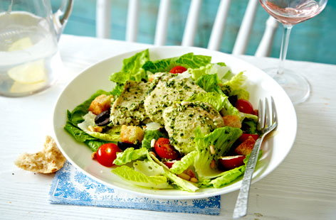 Dress up a traditional chicken Caesar salad with a flavoursome herby pesto and olive twist