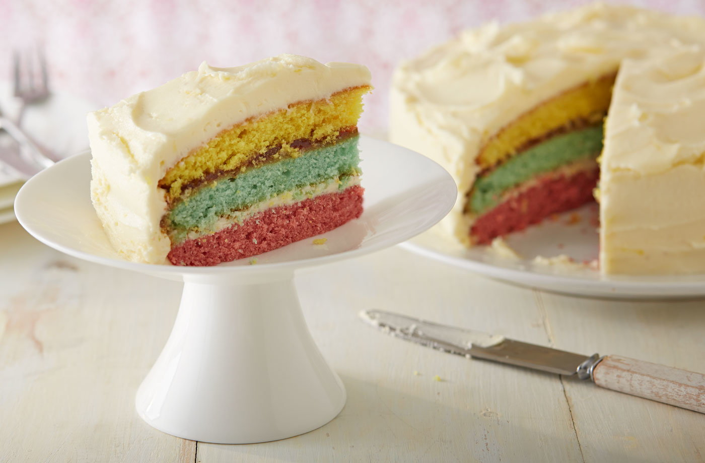 Cake With Photo Tesco : Lemon icing rainbow cake Tesco Real Food