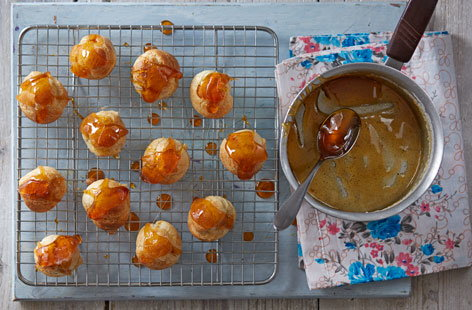 A fun twist on classic French choux pastry, these gorgeous little golden buns are filled with rich and delicious salted caramel.