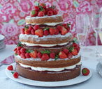 Rustic naked Victoria sponge layer cake