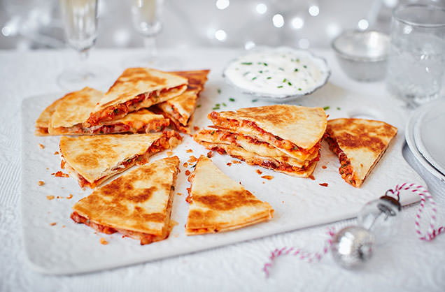 Chiplotle bean and cheese quesadillas