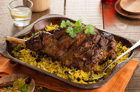 Indian-spiced leg of lamb with pilau rice recipe