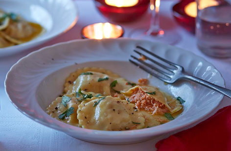 The perfect way to start your Valentine's Day meal. Fresh ravioli packed full of gorgeous, zesty crab meat and served with a simple butter and lemon sauce
