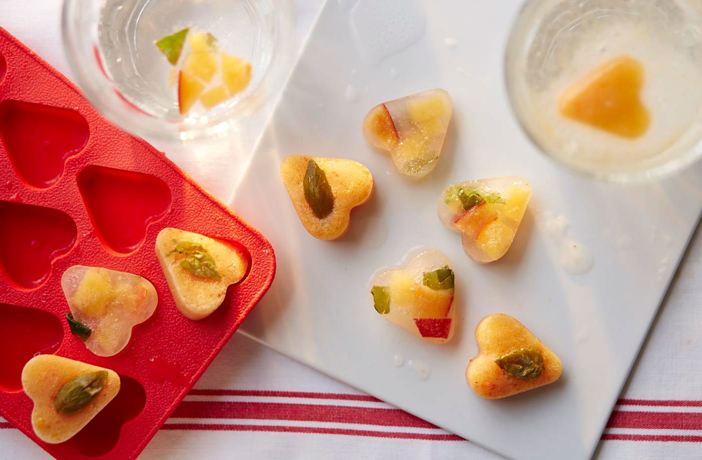 Peach, lime and basil-infused ice cubes