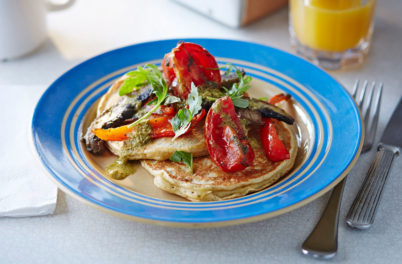 Buttermilk pancakes with roasted tomatoes, peppers and mushrooms recipe