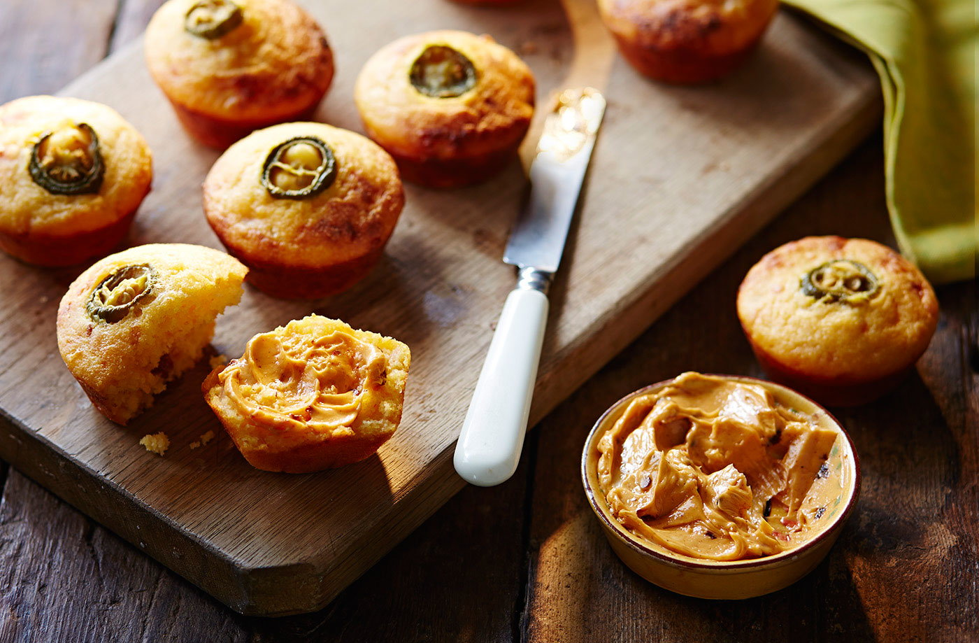 Chorizo, jalapeño and cornbread muffins with chipotle butter recipe