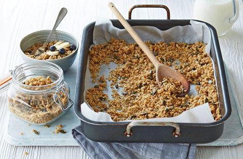 This granola recipe is not only good value, it's really easy to prepare, so you can adapt it to include your favourite toppings