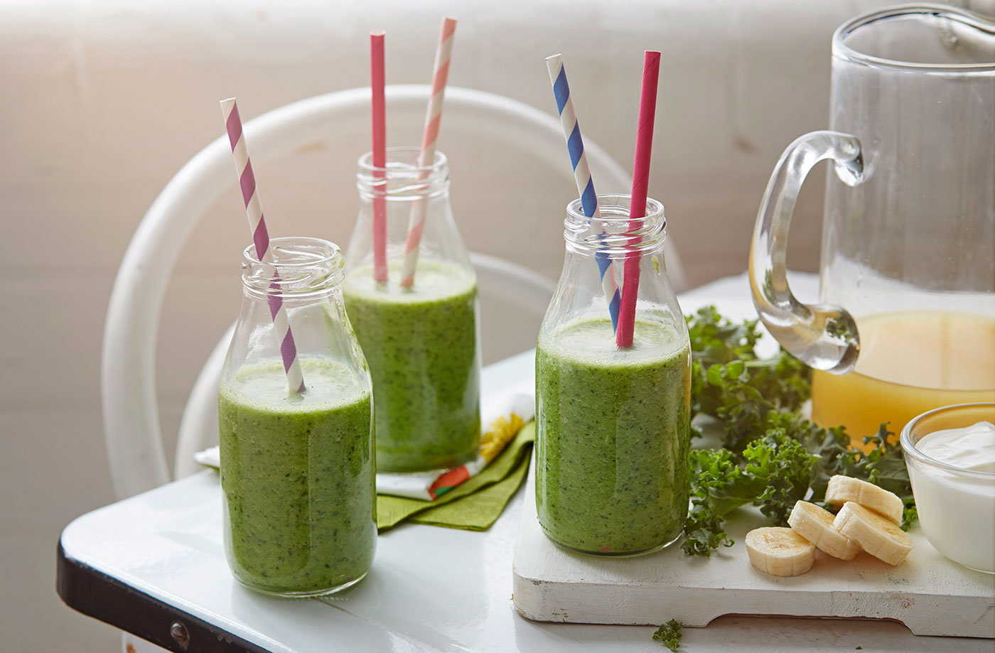 Tropical green breakfast smoothie