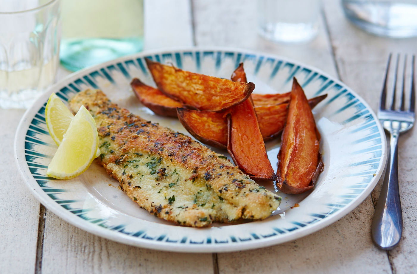 Gluten-free almond crusted fish and sweet potato wedges recipe